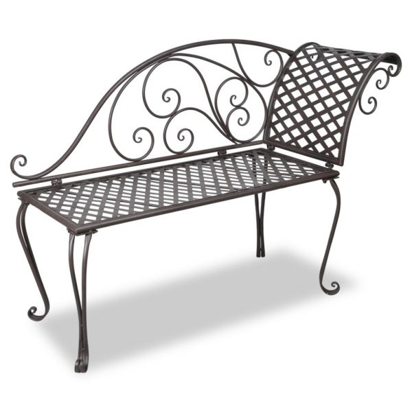 Chaise longue 128 cm staal antiekbruin