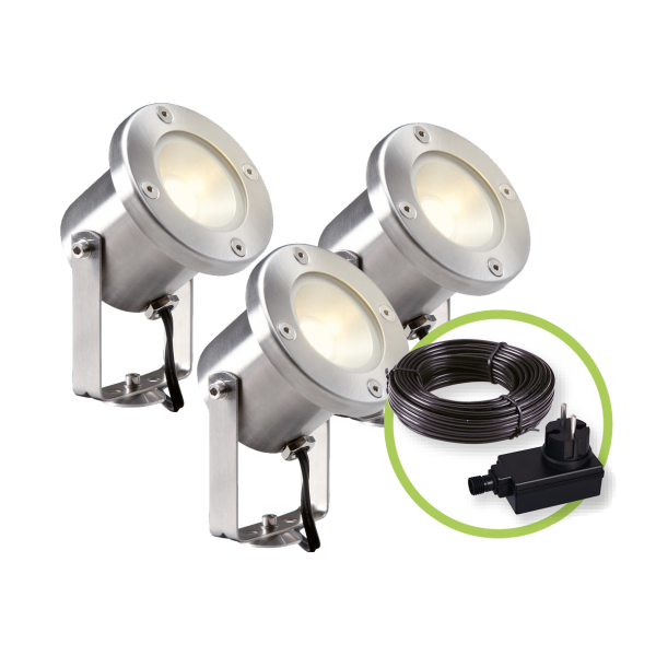 Garden Lights - Tuinspots Catalpa set van 3 st. - Zilverkleurig
